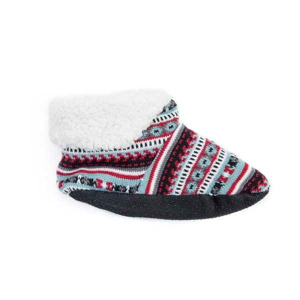 Muk Luks Women's Blue Acrylic and Polyester Bootie Slippers