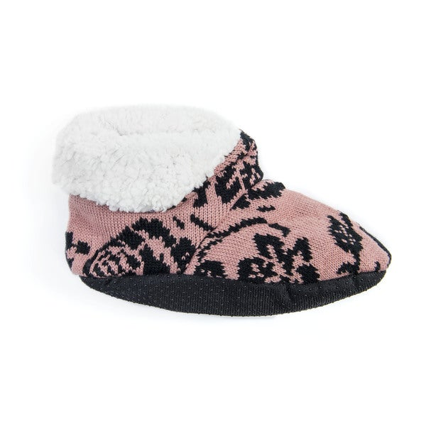 Muk Luks Women's Pink Acrylic/Polyester Bootie Slippers