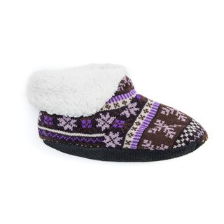 Muk Luks Women's Purple Acrylic/Polyester Bootie Slippers