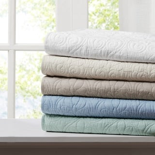 Madison Park Mansfield Oversized Quilted Throw 5-Color Option
