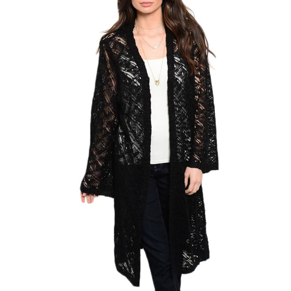JED Women's Black Acrylic Knitted Oversized Cardigan