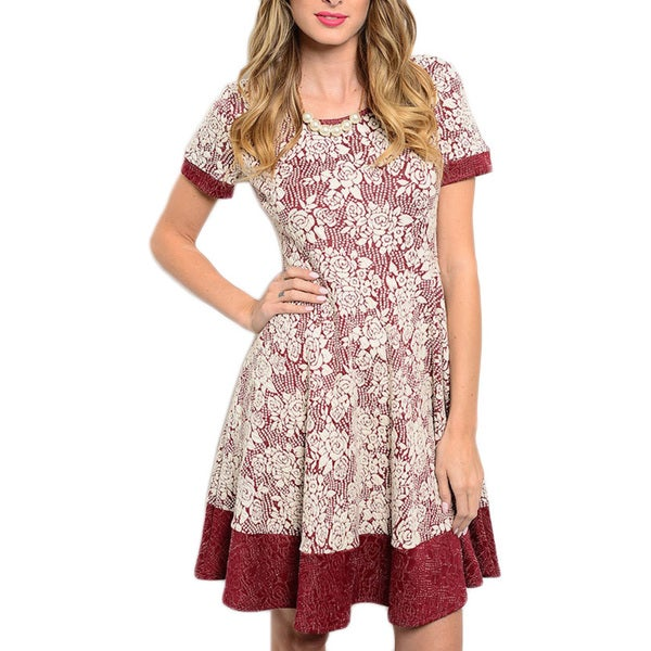 JED Women's White/Red Cotton/Polyester/Spandex Color-block Floral A-line Dress