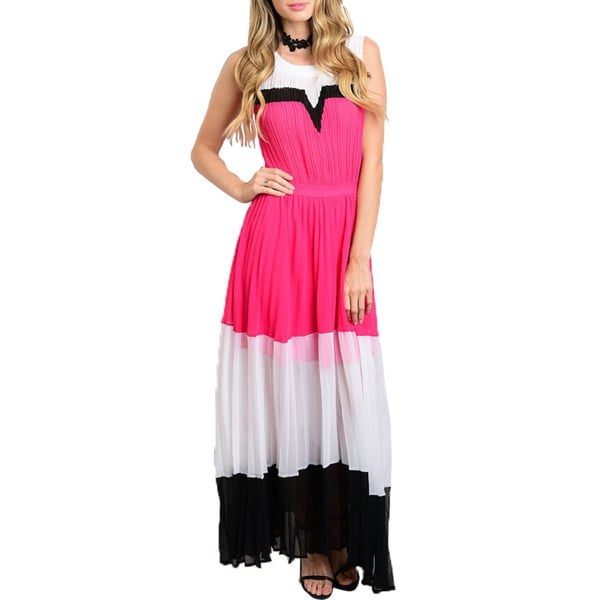 JED Womens' Colorblock Sleeveless Chiffon Maxi Dress