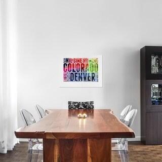Naxart Studio 'Denver Watercolor Word Cloud' Stretched Canvas Wall Art