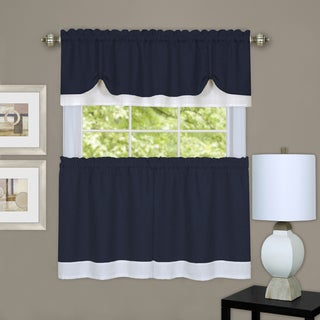 Navy/White Polyester Three-piece Double-layer Tie-up Tier and Valance Window Curtain Set (24 or 36 inches)