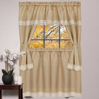 Camel Polyester 24-inch/36-inch 5-piece Linen Style Macrame Trim Kitchen Curtain Set