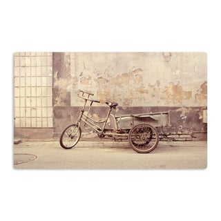 KESS InHouse Jillian Audrey 'The Gray Bicycle' Brown Photography Artistic Aluminum Magnet
