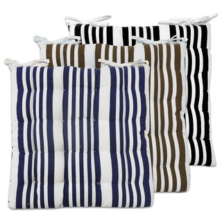 Black/Brown/Navy Cotton Tufted Printed Striped Chair Pads with Ties (Set of 2)