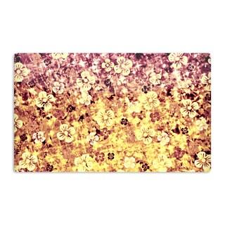 KESS InHouse Ebi Emporium 'Flower Power in Yellow' Orange Glitter Artistic Aluminum Magnet