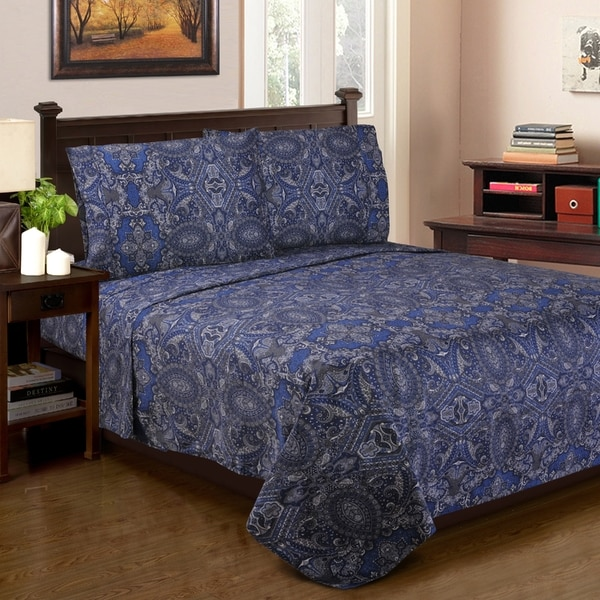 Superior 300 Thread Count Cotton Alderwood Sheet Set Navy Blue