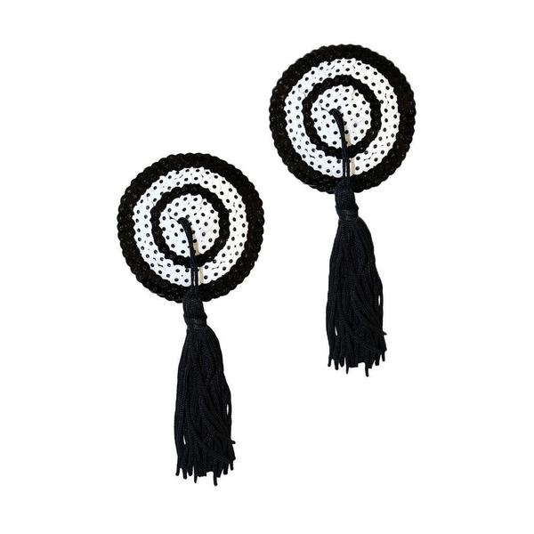 Black Hypnotic Tassel Contrast Pasties