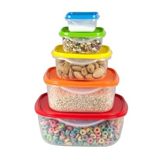 Home Basics Multicolor Plastic 5-piece Nesting Storage Container Set with Covers