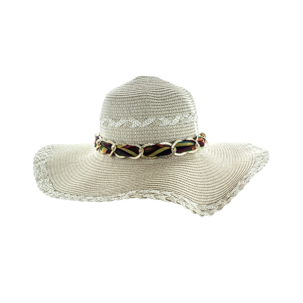 Faddism Women's Tan/Brown Floppy Sun Hat With Woven Edges and Chain Hatband