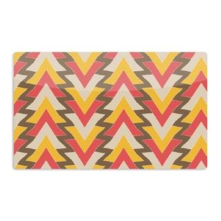 KESS InHouse Julia Grifol 'My Triangles in Red' Orange Brown Artistic Aluminum Magnet