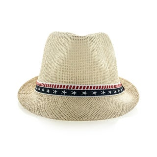 Faddism Tan Fedora Hat with Stars and Stripes Hatband