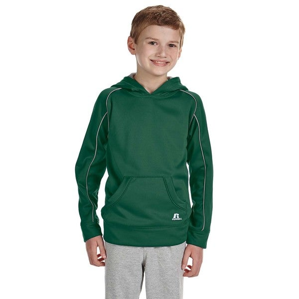 Tech Boys' Dark Green/Steel Polyester Fleece Pullover Hood