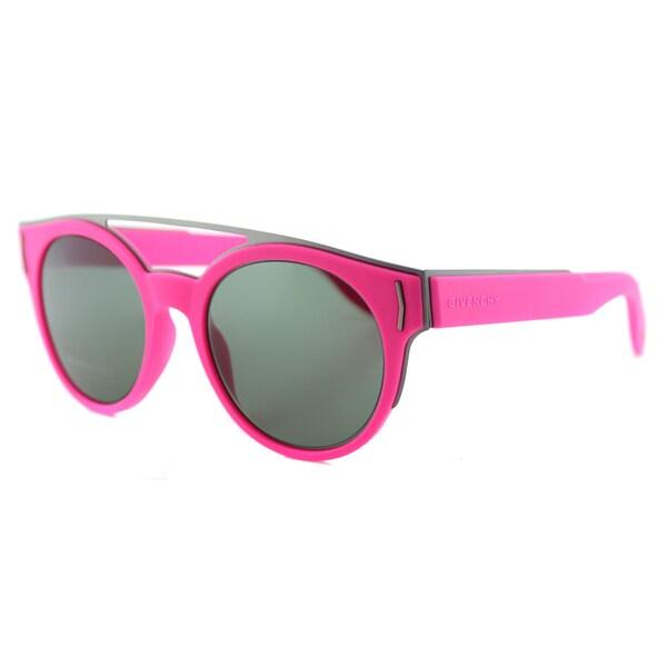 Givenchy GV 7017 VFA Fluorescent Fuchsia Green Lens Round Sunglasses
