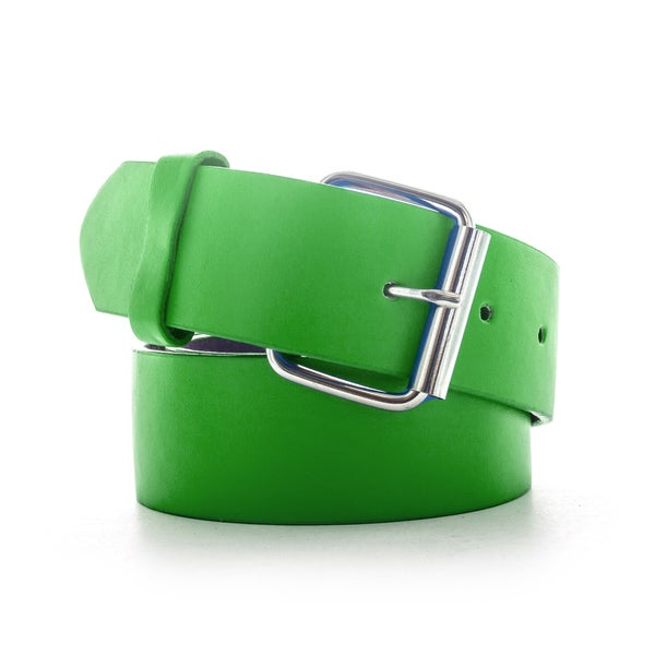 Faddism Unisex Green/Yellow/Orange Genuine Leather Belt