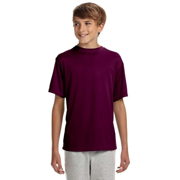 Mens' Youth Maroon Polyester Cooling Performance T-shirt