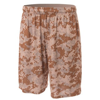 Youth Beige Polyester Camo Performance Shorts