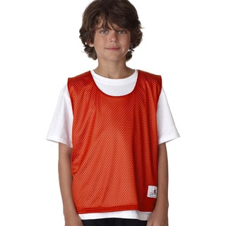 Youth Burnt-orange/White Polyester Reversible Practice Lacrosse Jersey