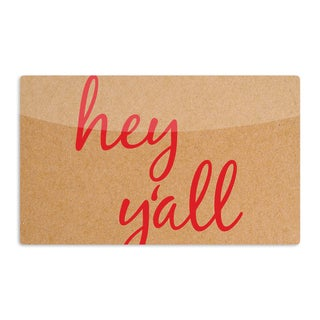 KESS InHouse KESS Original 'Hey Y'all - Red' Brown Red Artistic Aluminum Magnet