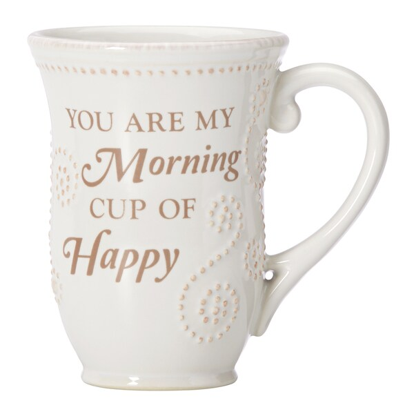 Lenox French Perle White Happy Sentiment Mug