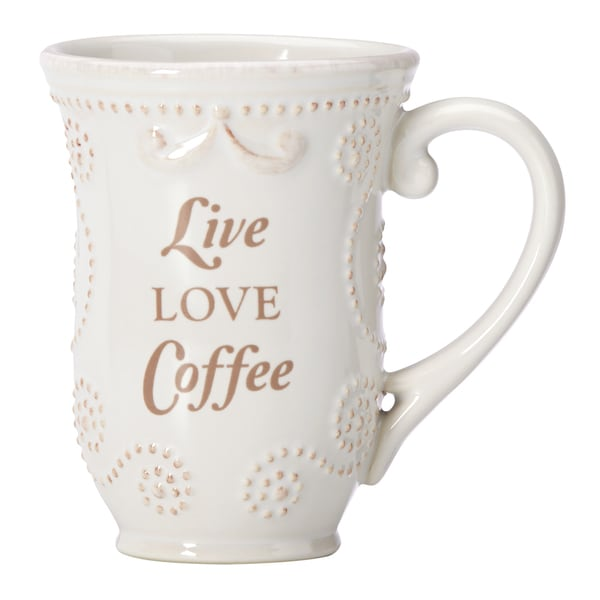 "Lenox French Perle White ""Live Love Coffee"" Mug"