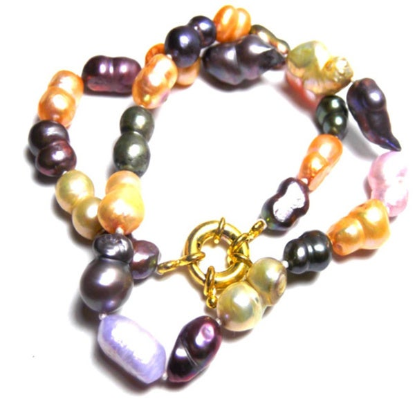 Fresh Water Colored Pearl Choker Necklaces 19463772