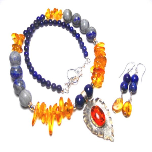 Focal Amber Lapis Lazuli Earrings Set