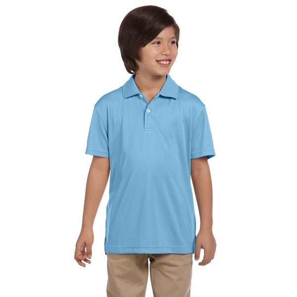 Youth Light Blue Polyester Double Mesh Sport T-shirt