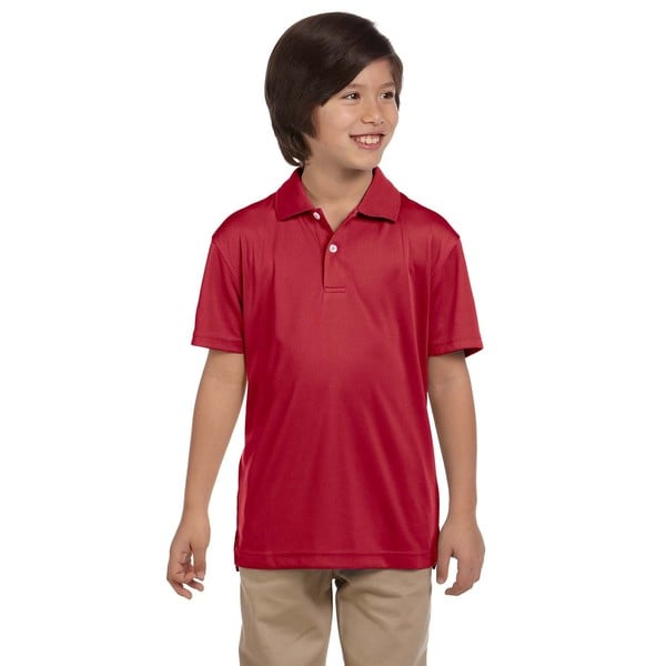 Youth Red Polyester Short-sleeve Polo T-shirt