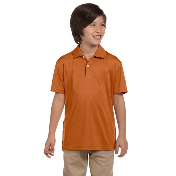 Boys' Orange Polyester Double Mesh Polo T-shirt