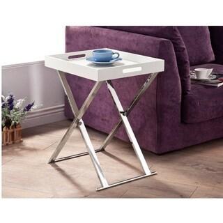 Lyke Home White Chrome Tray Table