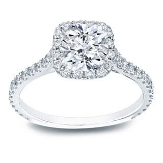 Auriya Platinum 1 1/2ct TDW Certified Cushion Diamond Halo Engagement Ring (H-I, SI1-SI2)