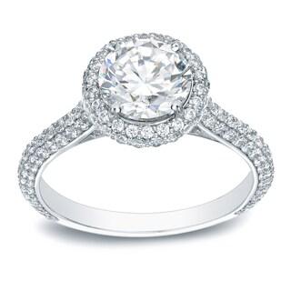 Auriya Platinum 2ct TDW Certified Round-Cut Diamond Halo Engagement Ring (H-I, SI1-SI2)