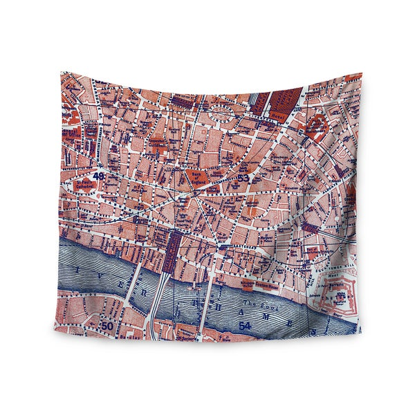 KESS InHouse Alison Coxon 'City Of London' Map 51x60-inch Tapestry