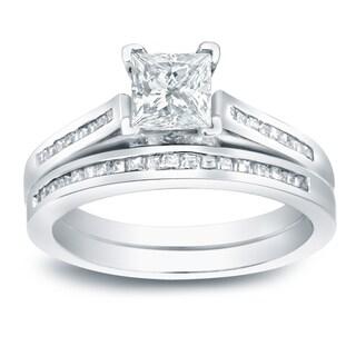 Auriya Platinum 1 1/2ct TDW Princess-Cut Diamond Halo Bridal Ring Set (I-J, I1-I2)