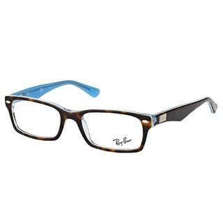 Ray-Ban RX 5206 5023 Havana on Azure Blue Plastic Rectangle 54-millimeter Eyeglasses