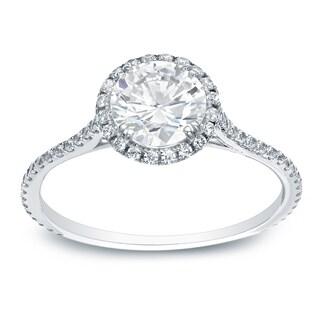 Auriya Platinum 1 1/2ct TDW Certified Round-Cut Diamond Halo Engagement Ring (H-I, SI1-SI2)