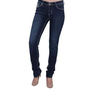 Season Story Women's SS-AT116004 Blue Cotton/Polyester/Rayon/Spandex Rhinestone Button Embroidery Skinny Jeans