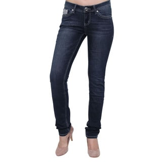 Season Story Women's SS-AT116006 Blue Cotton/Polyester/Rayon/Spandex Button Studded Embroidery Pocket Skinny Jeans