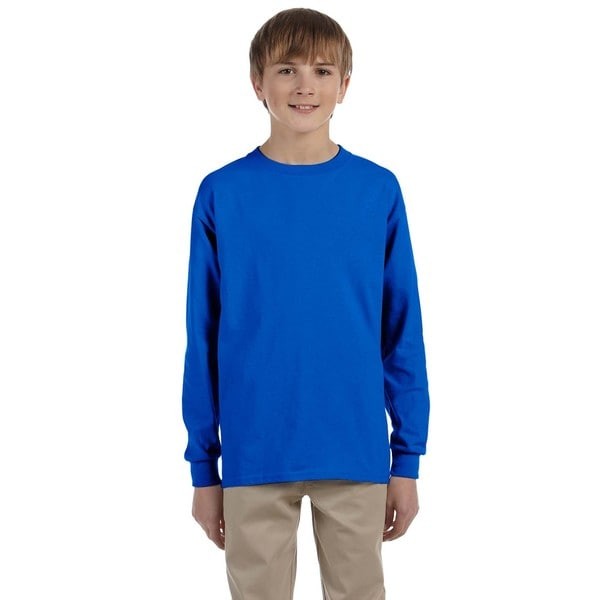 Gildan Boy's Blue Cotton Long Sleeve T-shirt