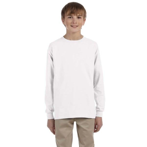 Gildan Boys' Ultra White Cotton Long-sleeved T-shirt