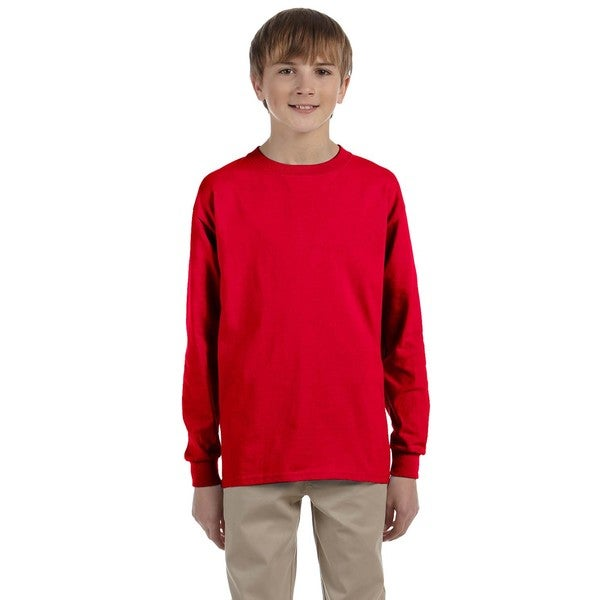 Gildan Boys' Ultra Red Cotton Long Sleeve T-shirt
