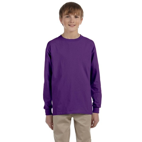 Ultra Cotton Boy's Purple Long-sleeve T-shirt