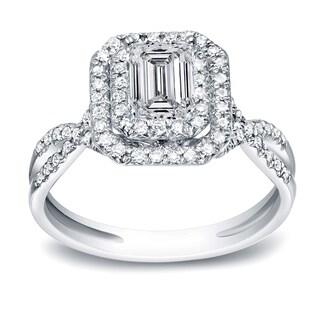 Auriya Platinum 4/5ct TDW Diamond Emerald-Cut Halo Engagement Ring (H-I, SI1-SI2)