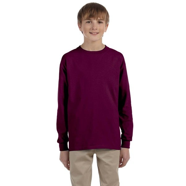 Gildan Boys' Red Cotton Long-sleeved T-shirt