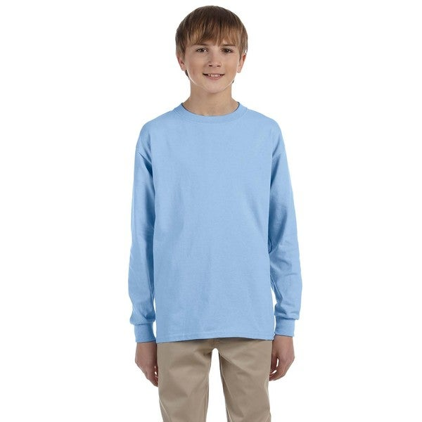 Ultra Cotton Boys' Light Blue Long-Sleeve T-Shirt
