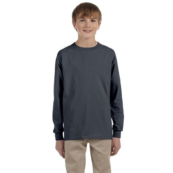 Gildan Boys' Ultra Charcoal Cotton Long Sleeve T-shirt